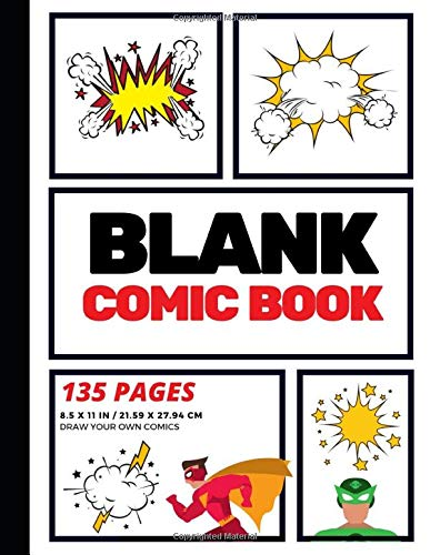 Blank Comic Book: Create Your Own Comic Strip, Blank Comic Panels, 135 Pages, Red (Large, 8.5 x 11 in.) (Action Comics)
