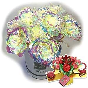 Galaxy Rose One Dozen 12 Purple Flower Arrangement Box Mom Mum 3D Pop Up Greeting Card Beauty Beast Anniversary Valentines Birthday Wedding Engagement (12Dozen) (12 Galaxy)
