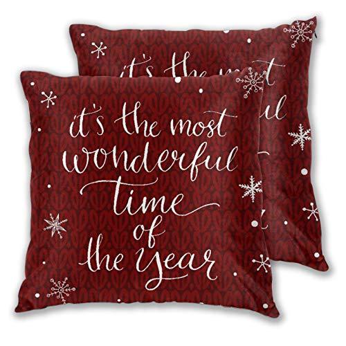 VINISATH Set de 2 Funda de Cojín 45x45cm Concepto de Navidad Es la época más Maravillosa del año Frase y Copos de Nieve Fundas de Almohada para Cojines Decorativos para Sofá Cama Coche Hogar
