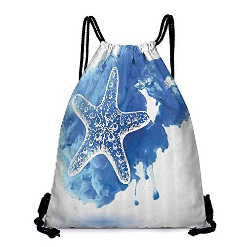 Swimming Backpack Nautical Starfish Figure on a Watercolor Paintbrush Watercolor Splash Background Marine Design Lightweight W14'x L18' Blue