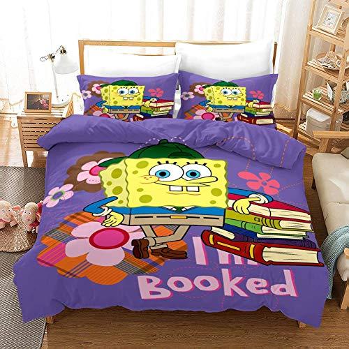 7788 Juego de funda de edredón para cama infantil, diseño de Bob Esponja, funda de edredón de microfibra floral (A07, 135 x 200 cm)