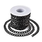 Beadthoven Cadenas de aluminio de 16.4 pies trenzadas negras de metal trenzado, collares de eslabones con bobina de 12 x 7 mm para hacer joyas