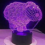 Jinson well Lámpara 3D de oveja, ilusión óptica, luz nocturna, 7 cambios de color, interruptor táctil, mesa de escritorio, lámpara decorativa con base acrílica de ABS, USB, juguete