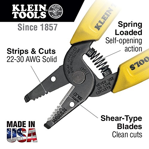 Klein Tools 11047 Wire Stripper/Cutter for 22-30 AWG Solid Wire, Yellow