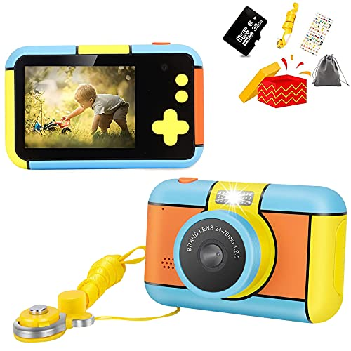 Kids Camera Digital Kid Toy Camera 1080P HD Video Recorder for 3 4 5 6 7 8 9 10 Year Old Boys Girls Best Christmas Children's Day Birthday Gifts with 32G SD Card and Camera Flannel Bag