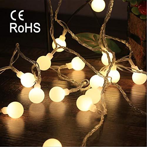 Guirlande lumineuse de 6 m, blanche, chaude avec 40 DEL, à piles pour Noël, fête, mariage, anniversaire, utilisation à l'intérieur et à l'extérieur, blanc chaud, Ball Light