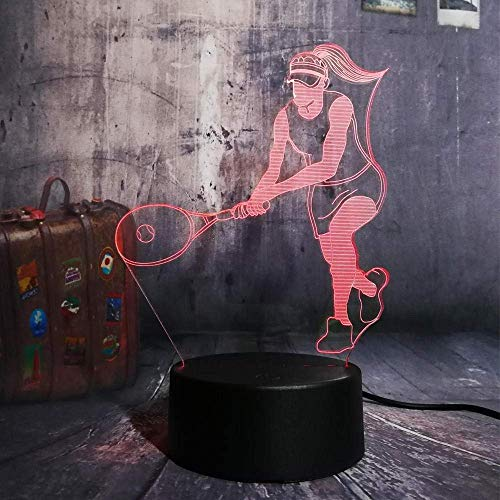 Luz De Noche 3D Deportes Tenis Luz De Noche Led 3D Lámpara De Mesa Que Cambia De 7 Colores Decoración Del Hogar Niños Niños Interruptor Táctil Para Hombre