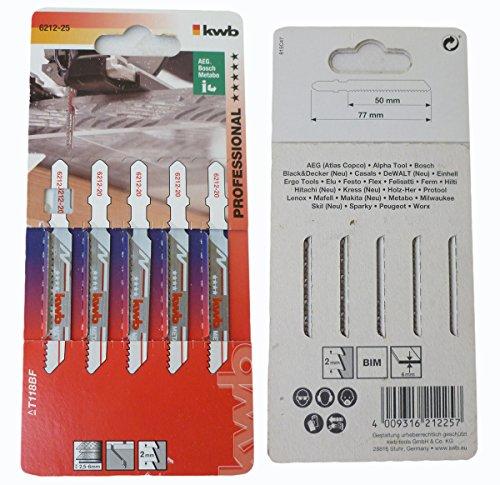kwb 5 X Jigsaw Blades Pack professionale per metallo 621225 (Medio, Bi-Metal, Camber, T118BF) U. A. per Einhell RT-JS 85