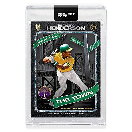 Topps Project 2020 RICKEY HENDERSON Encased Baseball Card #71-1980 Topps Baseball #482 by ARTIST Ben Baller