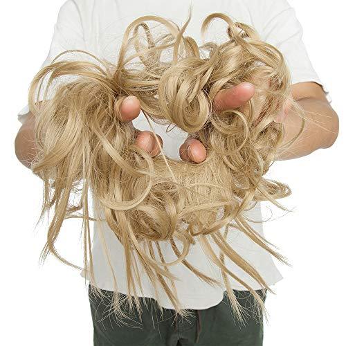 Chignon Capelli Finti Extension con Elastico Messy Hair Bun Posticci Ricci Updo Ponytail Extensions Coda di Cavallo Ciambella 45g, Biondo Naturale