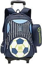 Adanina Cartoon Printed Football Trolley Backpack Elementary Book Bag Primary School Bag with Wheels for Kids