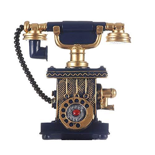 ZHOUYANG Línea Fija Retro Resina de la artesanía la decoración del hogar Teléfono Europeo Línea Fija Azul Negro (Color : Blue)