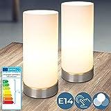 Tischlampe mit Dimmer Touchfunktion - EEK: A++ bis E, 1er oder 2er Set, E14, LED, dimmbar - Nachttischlampe, Nachttischleuchte, Bürolampe - für Wohnzimmer, Schlafzimmer, Kinderzimmer (2er)