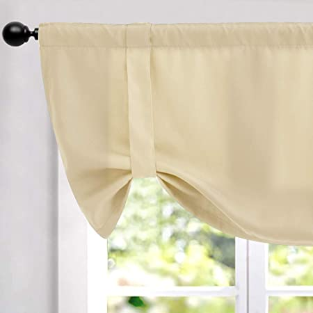 Lazzzy Valance 18 inch Beige for Kitchen Blackout Window Curtain Thermal Insulated Adjustable Tie Up Rod Pocket Drapes 1 Piece