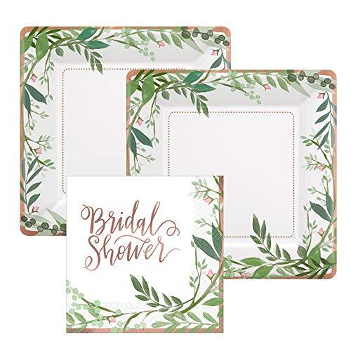Platos de postre y servilletas de papel para novia, 16 servilletas, 3 unidades, color oro rosa