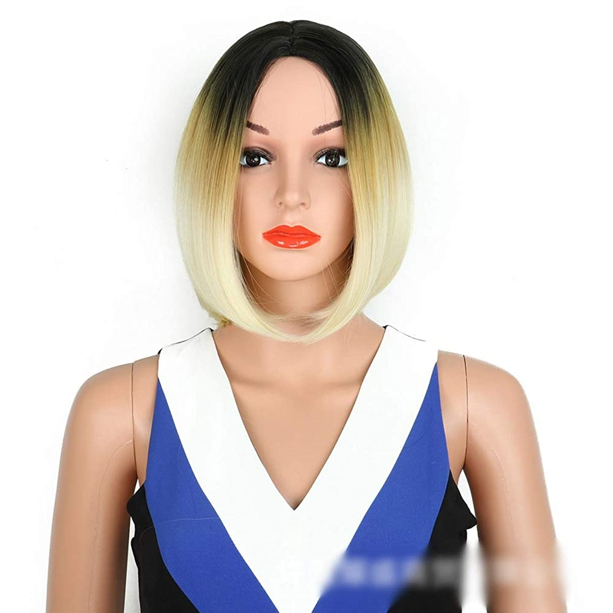 ハロウィンアカデミーポータブルHOHYLLYA オンブルブラウンボブウィッグミドルショートストレート人工毛ウィッグダークルーツグラデーションカラーヘア用女性パーティーウィッグ (色 : Blonde)
