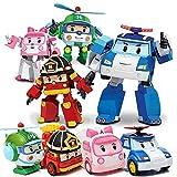 TIANLE 4 PCS Poli Toys Toys Transformer Cars Toys Robot Transformando Robot Cars Toys Poli, ROI, Ámbar, Helly, Día de los niños Regalo para niños Niñas Juguete