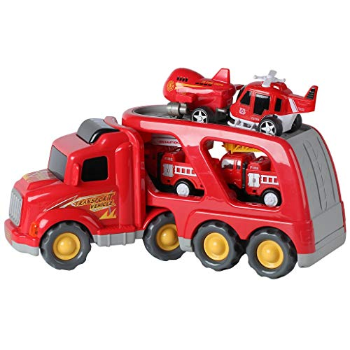 Fire Truck Rescue and Emergency Transport Vehicle with Helicopter, Airplane and 2 Fire Engines - Lights Up, Plays Music, Makes Sounds. - Firetrucks Toys for Kids 3+