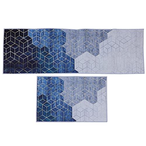 FOMIYES 2 alfombras de cocina de poliéster para baño, antideslizante, alfombra de cocina, para puerta delantera, sala de estar, decoración de entrada, 40 x 60 cm, 40 x 120 cm (azul)