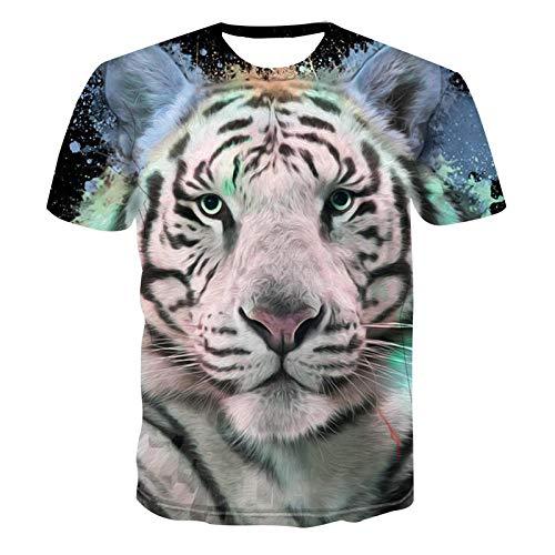 Unisex 3D grappig bedrukt T-shirt heren zomer grafische korte mouwen T-shirts tops dierlijke tijgerkop T-shirts