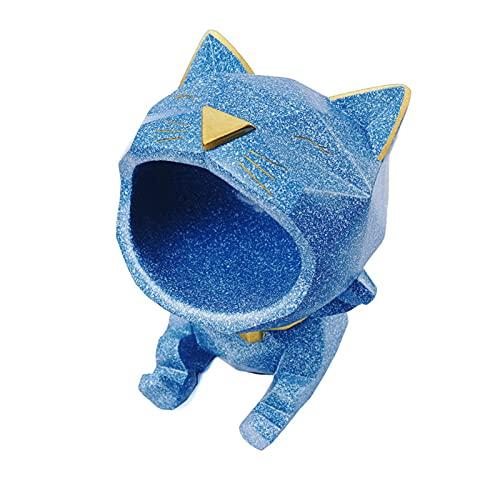 Ciotola per la conservazione delle chiavi del gatto a bocca grande, Vassoio portaoggetti per organizer per piatti di caramelle con statuina di gatto in resina,Blu