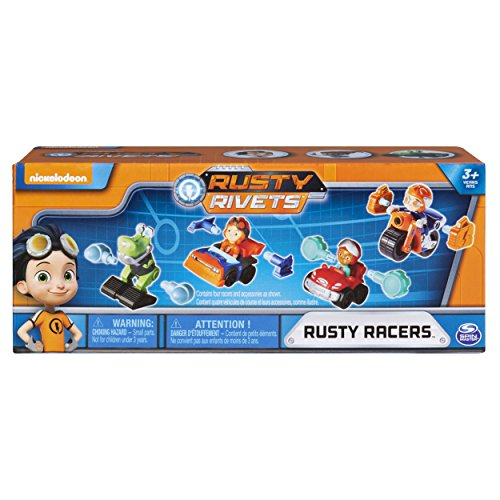 RUSTY RIVETS - Rusty Racer 4 Pack Bundle, Racer Figures with Bonus Parts, for Ages 3 & Up, Multicolor, Model:6046565