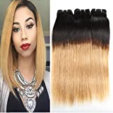 Huarisi Brazilian Hair 7a Straight Virgin Human Hair Ombre Real Hair Extensions Natural Black to Blonde Weaves (1b 27 Color, 14 16 18 Inches)