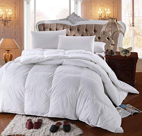 Royal Hotel's 300 Thread Count King Size Goose Down Alternative Comforter, Overfilled Comforter, Duvet Insert 100% Cotton Shell - 750FP - 86Oz - Solid White, King