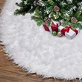 Gonne per Alberi di Natale 120cm/48inch Bianco Gonna Albero con Ricamo d'oro Fiocchi di Neve Natale Decorazioni Albero di Natale Vacanze Gonne