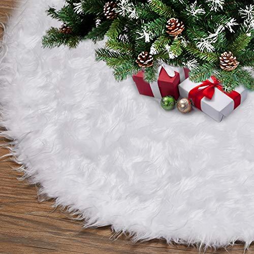 ASZKJ 120cm Deco runde Filz-Baumdecke Weißer Weihnachtsbaum Rock schürzen Weiß-Schnee-Weihnachtsthema-Verzierung