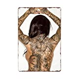 Tattoo Girl Letrero de Metal Placas Vintage Tattoo Shop Decorativo Pin Up Poster Cafe Club Wall Home...