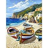 Kit de pintura de diamante redondo para playa, pesca, barco, canoa, para adultos y niños, para decoración de pared, 30,4 x 40,6 cm