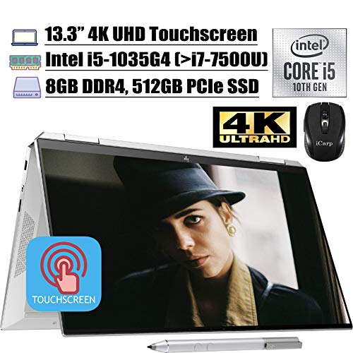 2020 Newest HP Spectre x360 2 in 1 Laptop 13.3' 4K UHD Touchscreen Intel 4-Core i5-1035G4 (i7-7500U) 8GB DDR4 512GB PCIe SSD Thunderbolt Backlit FP Alexa Pen Win 10 + iCarp Wireless Mouse (Renewed)