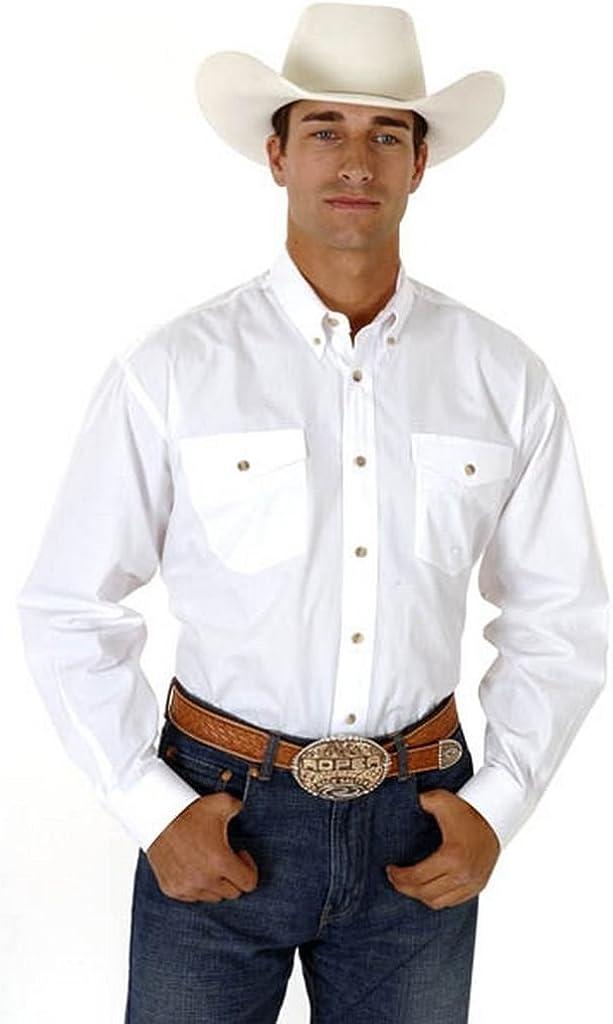 Roper Men's Poplin Western Shirt Big and Tall White XXX-Large Tall