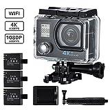 VTIN Action Kamera 4K Camera WiFi Sports cam 170Ultra-Weitwinkel 2' LCD Unterwasserkamera Helmkamera...
