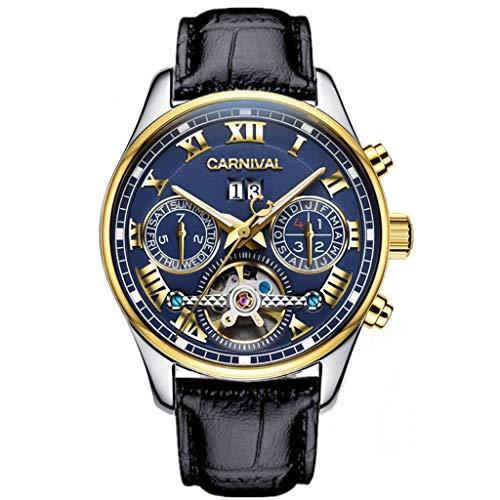 Orologio da Uomo Orologi da Polso con Nucleo Meccanico Calendario Settimanale Mese Display Luminoso Orologi Impermeabili blue2/leather