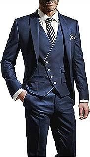 Men's Slim Fit Peak Lapel Suits 3 Pieces Wedding Suits for Men Groom Tuexdos