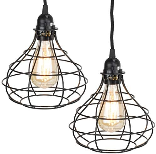 Rustic State Industrial Cage Pendant Light with 15 Black Fabric Plug in Cord and Toggle Switch product image