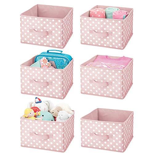 mDesign boîte de rangement (lot de 6) – caisse de rangement en fibres synthétiques avec joli imprimé à pois pour chambre denfant – casier en tissu pour jouets, peluches etc. – rose/blanc