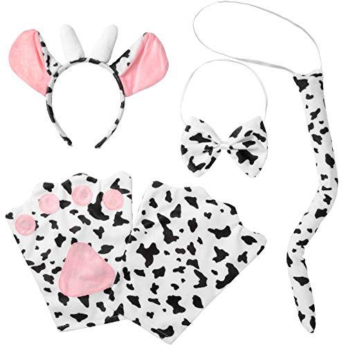 dressforfun 302052 - Kostüm Set Kuh für Erwachsene, Haarreif mit Ohren und Hörnern, Handschuhe, Fliege und Schwanz