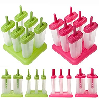 BOOYE Popsicle Molds Set Pop Makers- Reusable Ice Pop Mold Set (2Set)