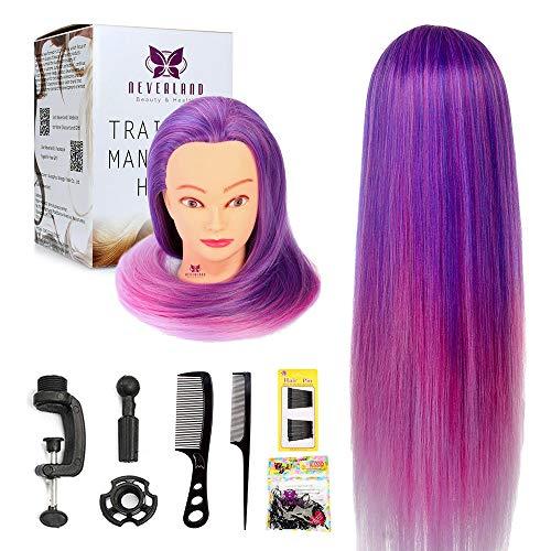 Frisierkopf, Neverland Beauty 26 Zoll Friseurausbildung Kopf Männchen Puppenkopf 100% Kunstfaser Haar friseur kopf mit Gratis Halter + Haare Frisuren Set (Lila)