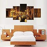 45Tdfc 5 Paneles Arte GráFica Pintura Pared Venecia Italia Multi ImáGenes para DecoracióN Moderna Hogar Mural Salon Dormitorio 150 * 80Cm Marco