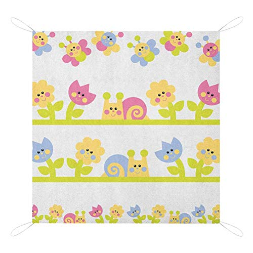Learn More About Nomorer Kids Picnic Blanket Waterproof Bottom, Cartoon Character Bees Tulip and Dai...