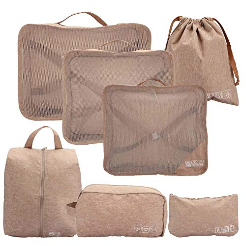 wosume Convenient Wrinkle-resistant Pratical Cation-Ion Fabric 7Pcs Luggage Packing Bag, Travel Storage Bag Set, Travel for Home(Khaki)