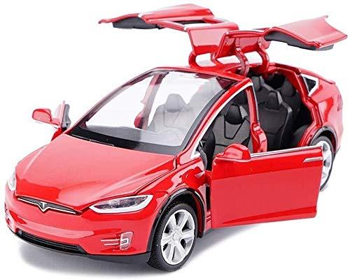 WJSXJJ Modellauto Tesla X Off-Road-SUV 1.32 Simulation Legierung Auto-Modell senden Male Geburtstag Geschenk Kinder Ton und Licht ziehen Auto-Adult-Serie (Color : Red)