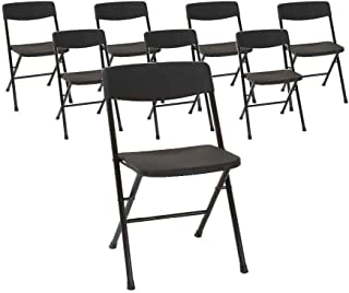 COSCO 37825BLK8E Resin Molded Seat and Back Black Folding Chair, 8 Pack
