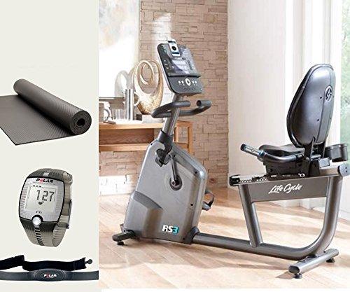 Life Fitness RS3 Track Liegefahrrad, Ergometer und Polar FT1 Pulsuhr inkl. Matte