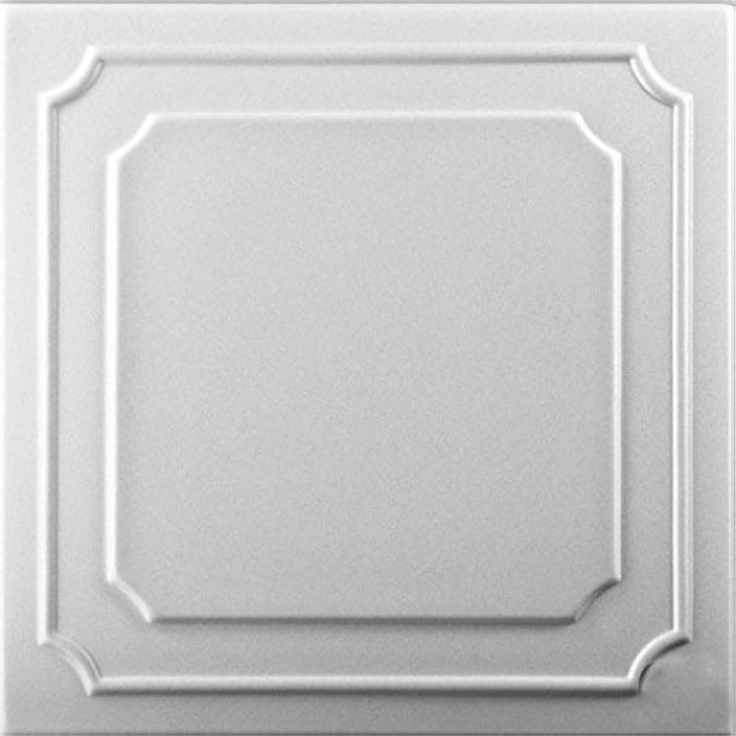 A la Maison Ceilings 802 Styrofoam Ceiling Tile (Package of 8 Tiles), Plain White