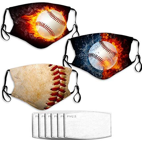 KENT HILL Mascarilla de béisbol 3 piezas con 6 filtros para adultos ajustable y cómodo filtro de polvo